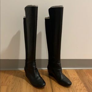 Nine West over the knee black leather boots